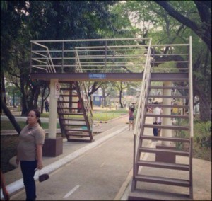 A bridge was built over a small walkway for people to cross, but is it necessary?